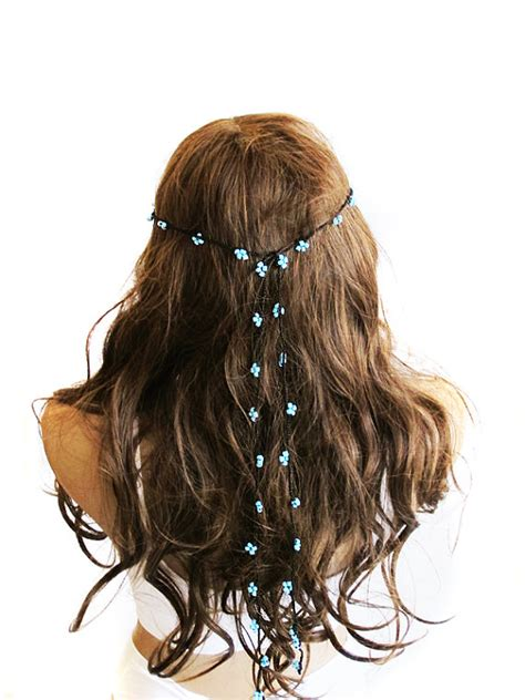Wedding Hair Pieces Boho by Crochet Headpiece Headband Hair Blue Beaded Wedding