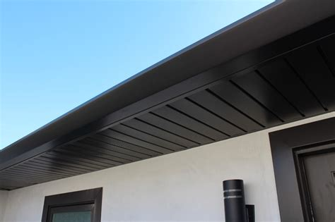 Kitchen Soffit Ideas by Soffits Fascia And Angle Face Gutters In Dark Bronze