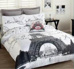 eiffel tower comforter set 3pcs bed