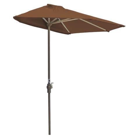 Teak Patio Umbrellas Blue The Wall Brella 7 5 Ft Patio Half Umbrella In Teak Sunbrella Otwb 7s Tk