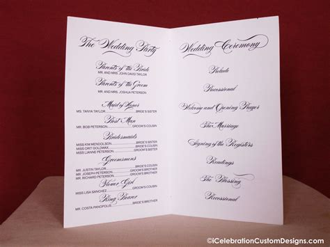 Wedding Brochure Copy Printable Calligraphy Wedding Program Icelebration