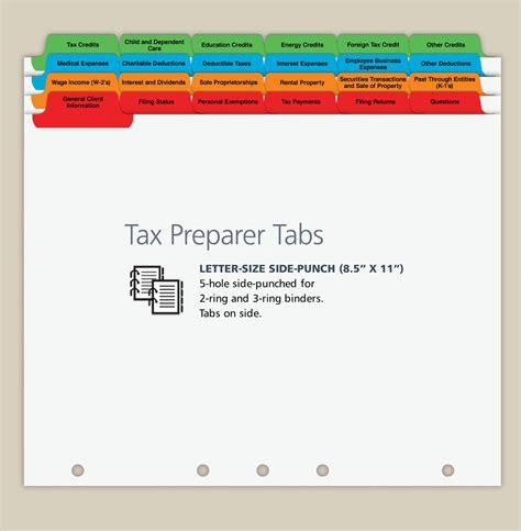 professional tax under which section tax preparer index tabs bindertek