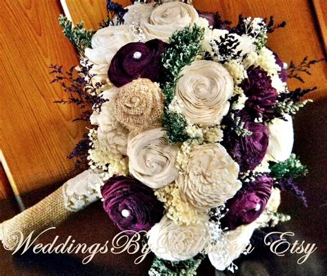 fall bouquets fall wedding burlap lace plum sola bouquet
