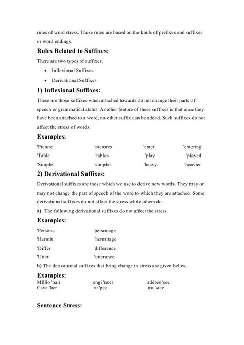 stress pattern rules stress patterns in prefixes and suffixes