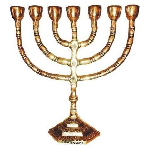 candelabro judaico candelabro menorah judaica de bronze 28cm polido
