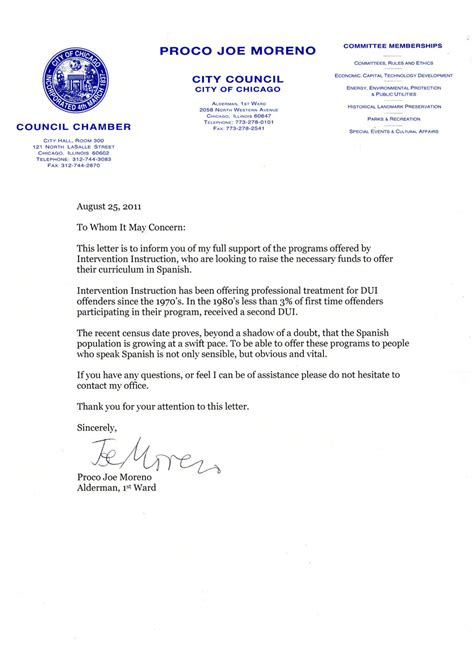 Support Letter For Dui Classes Bajola In Influencae Benefactores Intervention Inc