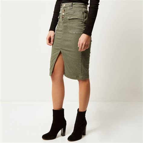 river island khaki denim pencil skirt in lyst