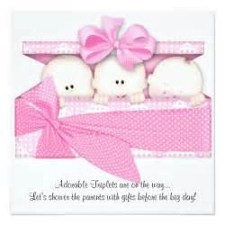 pink triplet baby shower invitation announcement zazzle