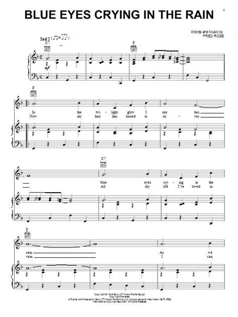 strumming pattern for blue eyes crying in the rain blue eyes crying in the rain sheet music by willie nelson