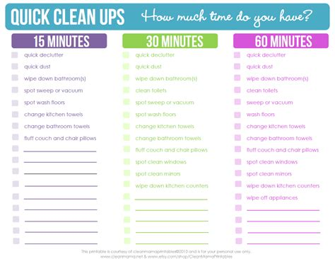 printable housekeeping planner quick clean ups checklist free printable clean mama