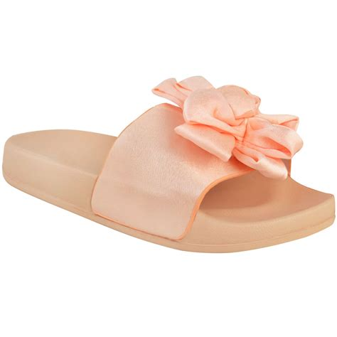 satin slippers womens comfy bow knot sliders flats satin casual
