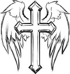 clipart cross with wings line art