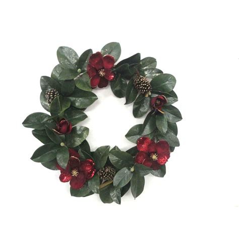Lighted Wreaths For Outdoors Lowes Shop Living 30 In Unlit Magnolia Indoor Outdoor Artificial Wreath At Lowes