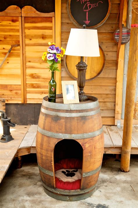whiskey barrel dog house rustic pet house made from a wine barrel