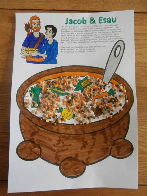 jacob and esau crafts for jacob and esau lentil stew craft christian ideas