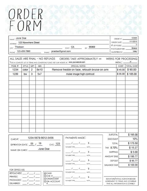 free printable telephone sales order forms templates