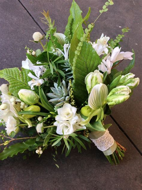 slipper flower succulent green and white bouquet parrot tulips freesia