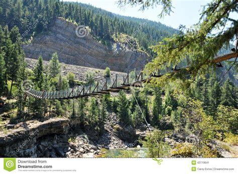 swinging bridge montana kootenai falls swinging bridge montana stock photo