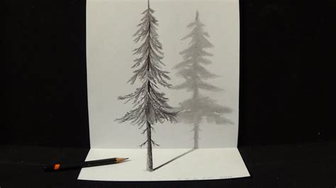 3d illusion l youtube pine tree line drawing how to draw a pine tree youtube