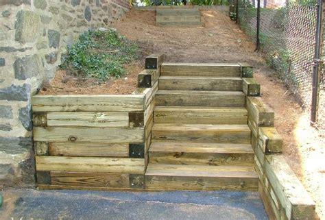 how to make hillside railroad tie landscape stairs railroad tie steps retaining wall hillside inspiration