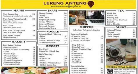 Daftar Menu Coffee Bean lereng anteng bandung new panoramic coffee place