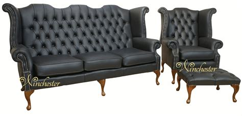 chesterfield 3 seater high back wing chair uk