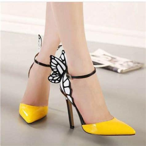 boho high heels shoes boho chic boho butterfly shoes yellow high