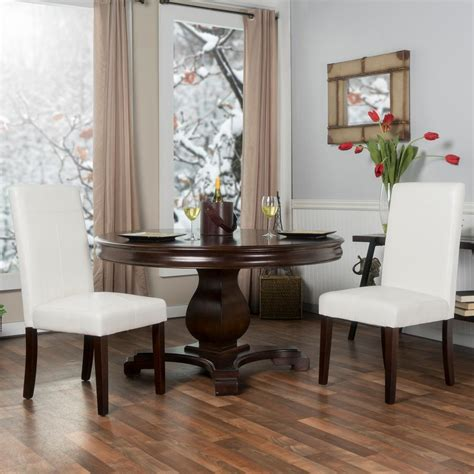 White Leather Parsons Dining Chairs Burke Berkley White Faux Leather Parsons Dining Chairs Set Of 2 201511 Pw The