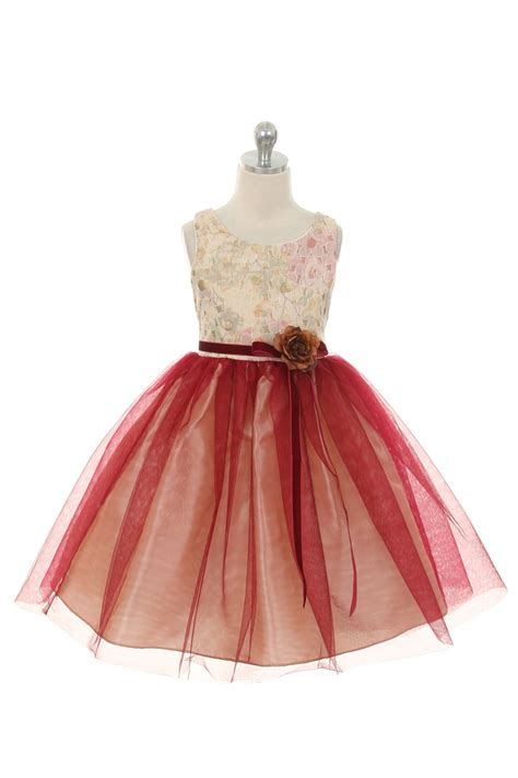 pattern flower girl dress dusty rose embroidered floral pattern tulle skirt flower