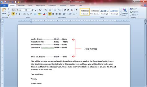 Mail Merge Word Document