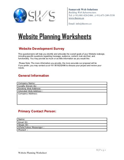 Worksheet Site by Website Planning Worksheet Worksheets Releaseboard Free