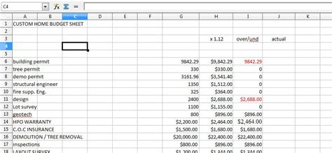 House Building Budget Spreadsheet by Home Renovation Budget Spreadsheet Excel Free Home