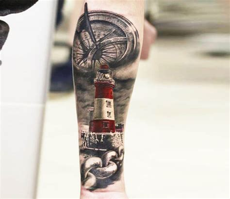 lighthouse tattoo by alexander romashev no 2188