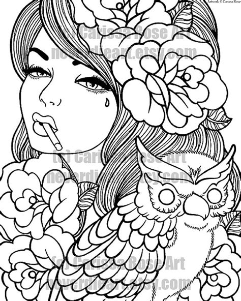 Digital Download Print Your Own Coloring Book Outline Page Coloring Pages Tattoos