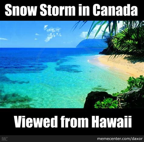 Hawaiian Memes - point of view canada snow storm from hawaii by daxor