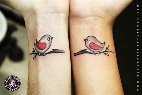 couple bird tattoos birds black poison studio