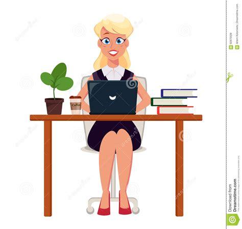 dessin bureau entrepreneur de femme d affaires travaillant sur l ordinateur