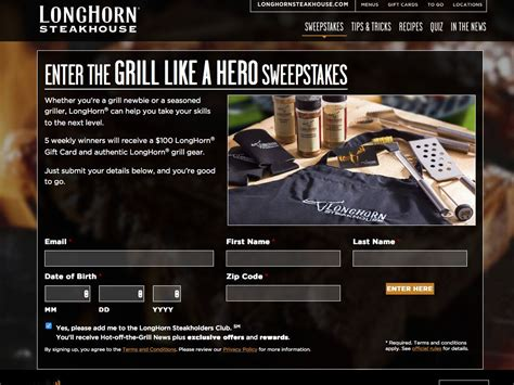 Longhorn Steakhouse Sweepstakes - longhorn steakhouse grill like a hero sweepstakes