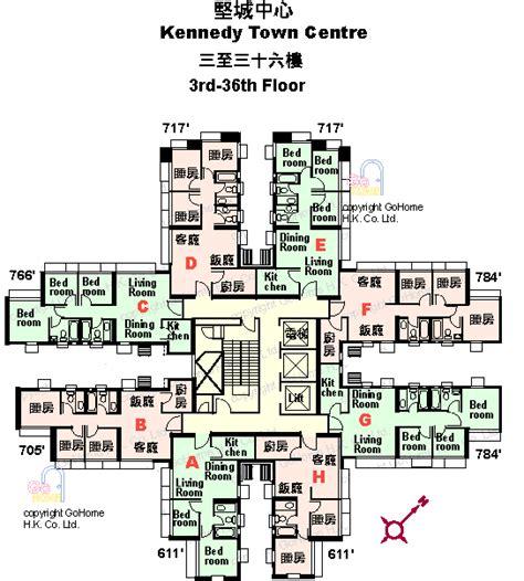 kennedy center floor plan 堅城中心樓盤平面圖 gohome hk