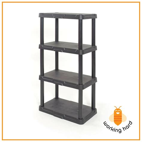 plastic storage shelves 4 tier durable unit rack indoor