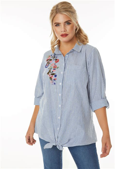 Sm Blouse Bugsize Wash Biru Blouse Size Wash Biru blue white pinstripe shirt with floral embroidered patch plus size 16 to 36