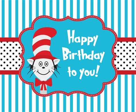 Cat Birthday Card Template by Cat In The Hat Greeting Card Template Vector
