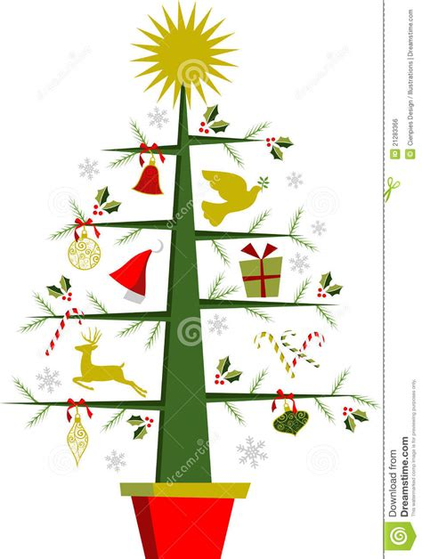 christmas tree with symbols and decorations royalty free