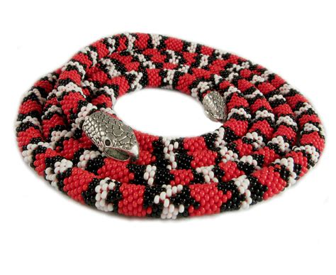 Beaded Crochet Rope Necklace Snake Skin By Fromfirsthand