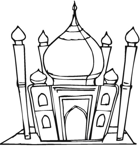 coloring page indian mewarnai masjid clipart best