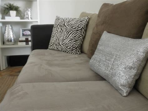 refabric a couch recover a pillow with a metallic dollar store towel 1
