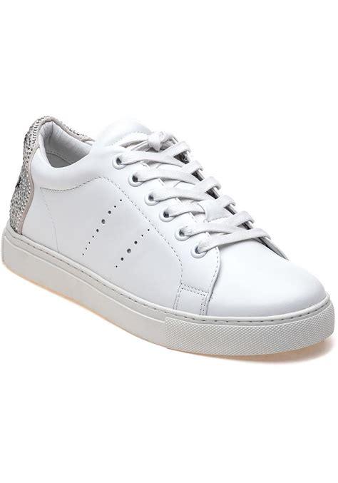 lola sneakers lola 238z10bk white leather sneakers in white lyst