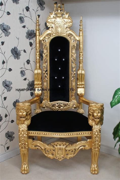 black throne chair throne chair in gold leaf black velvet