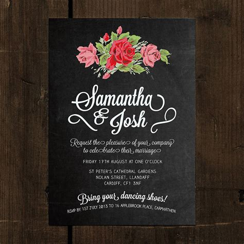 chalkboard invitations template floral chalkboard wedding invitation by feel wedding