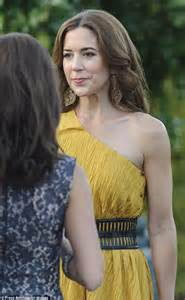 Draped Neckline Princess Mary Of Denmark Steps Out For Dinner Wearing Gold
